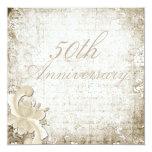 """50th Wedding Anniversary Telemark Design 5.25"""" Square Invitation Card"""