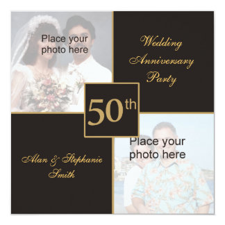 50th Wedding Anniversary Then & Now Pictures Card