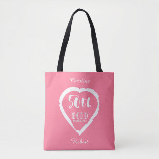 50th wedding anniversary traditional golden gold tote bag