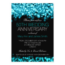 50th Wedding Anniversary Turquoise Lights 4.5x6.25 Paper Invitation Card