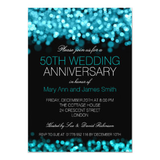 50th Wedding Anniversary Turquoise Lights Card