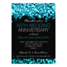 50th Wedding Anniversary Turquoise Lights Custom Announcement