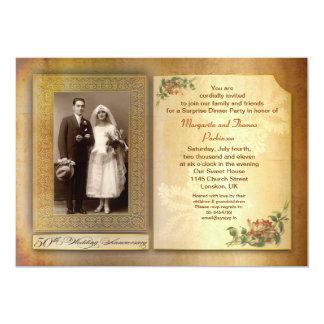 "50th wedding anniversary vintage aged photo invite 5"" x 7"" invitation card"