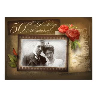 50th wedding anniversary vintage photo invitations