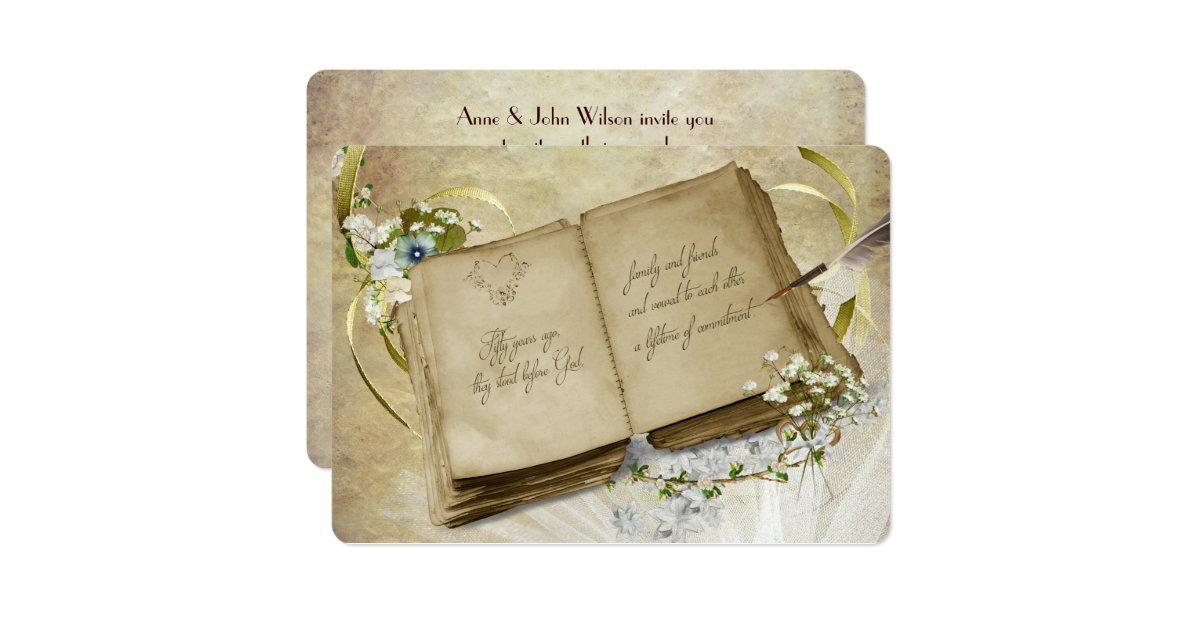 50th Wedding Vow Renewal Invitations: 50th Wedding Anniversary Vintage Vow Renewal Invitation