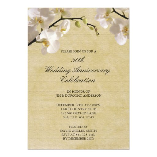 50th Wedding Anniversary Vintage White Orchid Custom Announcements