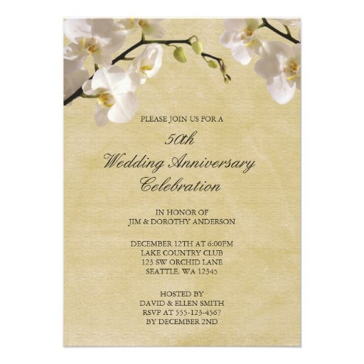 50th Wedding Anniversary Vintage White Orchid Invite