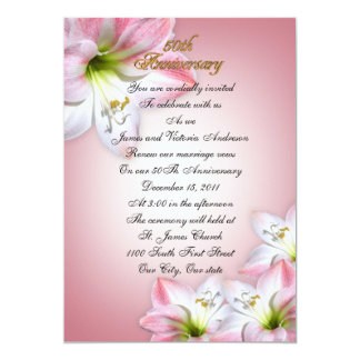 50th Wedding anniversary vow renewal pink amarylis Card