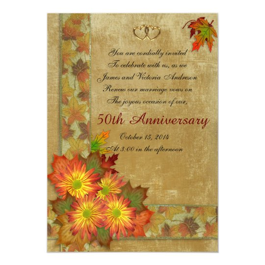 50th Wedding Anniversary Vows Renewal: 50th Wedding Anniversary Vow Renewal Pink Roses Invitation