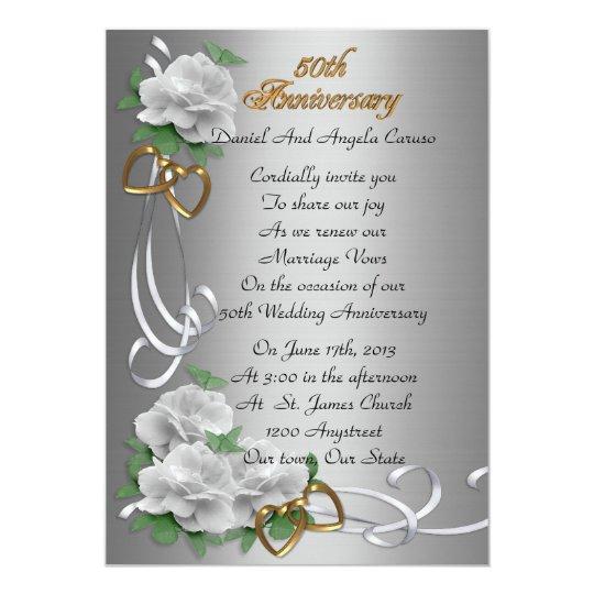50th Wedding Anniversary Vows Renewal: 50th Wedding Anniversary Vow Renewal White Roses Card