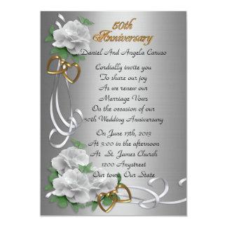 50th Wedding anniversary vow renewal white roses Invitation