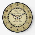 50th Wedding Anniversary Wall Clock at Zazzle