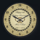 """50th Wedding Anniversary Wall Clock<br><div class=""""desc"""">A Digitalbcon Images Design featuring a gold and black color theme with a variety of custom images, shapes, patterns, styles and fonts in this one-of-a-kind &quot;Golden Wedding Anniversary&quot; Wall Clock. This elegant and attractive design comes complete with customizable text lettering and elements. This clock will make the ideal gift for...</div>"""