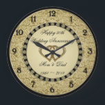 "50th Wedding Anniversary Wall Clock<br><div class=""desc"">A Digitalbcon Images Design featuring a gold and black color theme with a variety of custom images, shapes, patterns, styles and fonts in this one-of-a-kind &quot;Golden Wedding Anniversary&quot; Wall Clock. This elegant and attractive design comes complete with customizable text lettering and elements. This clock will make the ideal gift for...</div>"