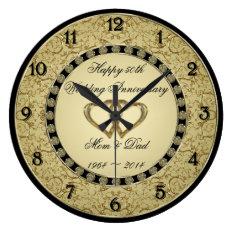 50th Wedding Anniversary Wall Clock at Zazzle