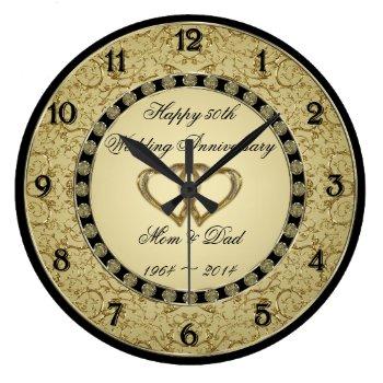 50th Wedding Anniversary Wall Clock by Digitalbcon at Zazzle