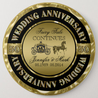 50th Wedding Anniversary-Wedding Horse & Carriage Button