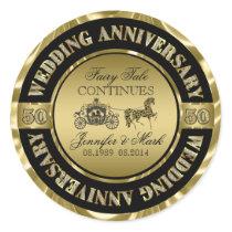 50th Wedding Anniversary-Wedding Horse & Carriage Classic Round Sticker