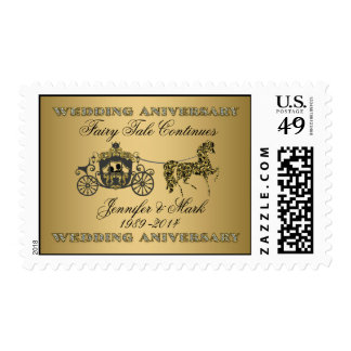 50th Wedding Anniversary-Wedding Horse & Carriage Postage Stamp