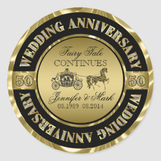 50th Wedding Anniversary-Wedding Horse & Carriage Classic Round Sticker