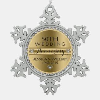 50th Wedding Anniversary White Diamonds & Silver Snowflake Pewter Christmas Ornament