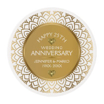 50th Wedding Anniversary White & Gold Frame Edible Frosting Rounds