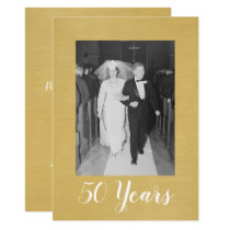 50th Wedding Anniversary with Photo - Brushed Gold Invitation