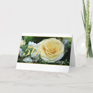 50th Wedding Anniversary - Yellow Rose Card