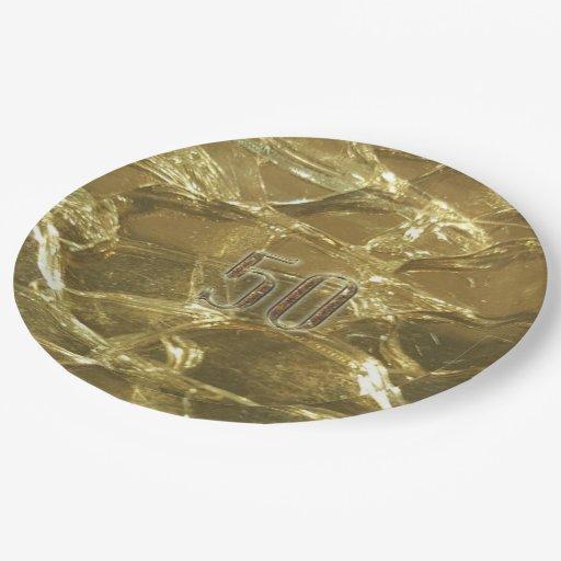 50th Wedding Birthday Corporate Anniversary Gold Paper Plate Zazzle