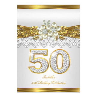 50th White Pearl Gold Lace Floral Birthday Party 5x7 Paper Invitation Card