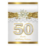 50th White Pearl Gold Lace Floral Birthday Party Card