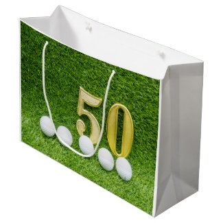 50th with golf ball and tee on green large gift bag