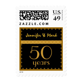 50th Year Anniversary - Black and Gold Lace Stamp