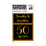 50th Year Anniversary - Black and Gold Vertical Postage