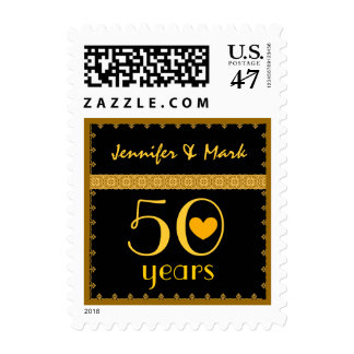 50th Year Anniversary  Black Gold Lace with Heart Postage