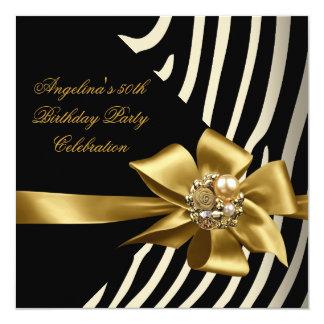 50th Zebra Gold Cream Black Birthday Party Invitation
