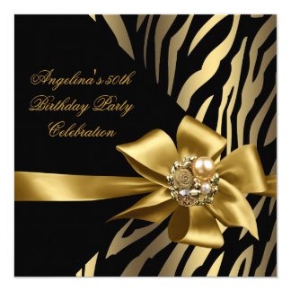 50th Zebra Old Gold Cream Black Birthday Party Card