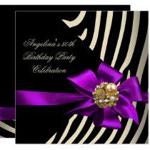 50th Zebra Purple Gold Cream Black Birthday Party Invitation