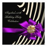 50th Zebra Purple Gold Cream Black Birthday Party 5.25x5.25 Square Paper Invitation Card