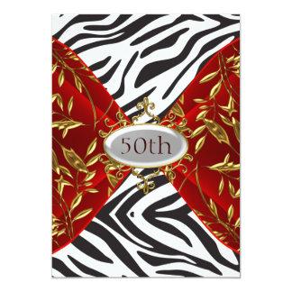50th Zebra Red  Birthday Anniversary Card