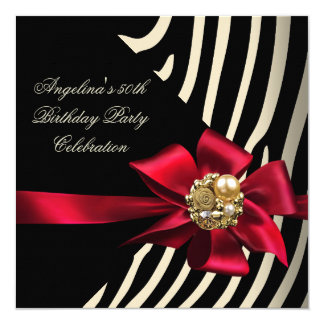 50th Zebra Red Gold Cream Black Birthday Party Card