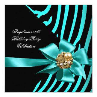 50th Zebra Teal Gold Black Elegant Birthday Party Card