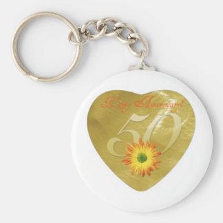 50thAnniversary Basic Round Button Keychain