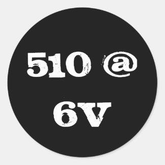 510 @ 6V CLASSIC ROUND STICKER