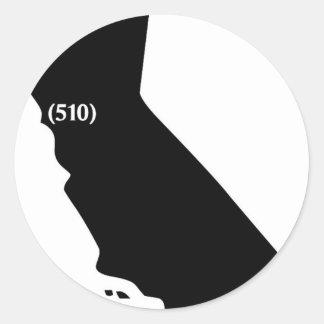 510 Area Code, California, Bay Area Classic Round Sticker