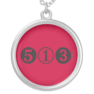 513 Area Code Silver Necklace (Red)