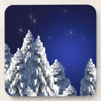 519662 WINTER NIGHT SCENE SNOW TREES STARS SCENIC DRINK COASTER