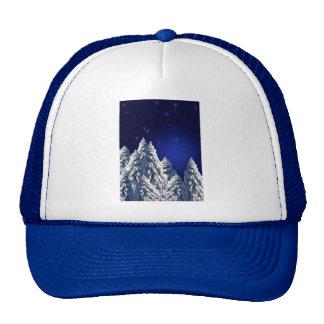 519662 WINTER NIGHT SCENE SNOW TREES STARS SCENIC TRUCKER HAT