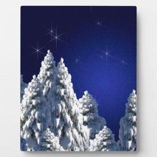 519662 WINTER NIGHT SCENE SNOW TREES STARS SCENIC PLAQUES