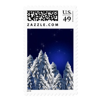 519662 WINTER NIGHT SCENE SNOW TREES STARS SCENIC POSTAGE